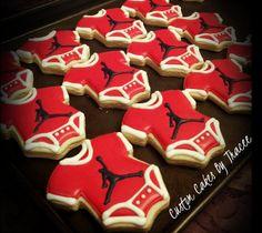jordan logo baby shower onesie cookies by Custom Cakes Jordan Baby Shower, Basketball Baby Shower, Baby Boy Shower, Onesie Cookies, Baby Cookies, Baby Shower Cookies, Sugar Cookies, Baby Shower Treats, Baby Shower Parties