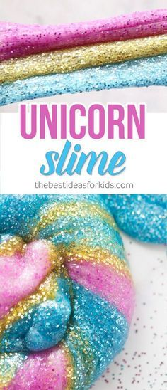 Glitter unicorn slime. Birthday party activity for unicorn themed birthday party. Platicina