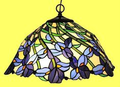 Colorful Iris Flowers Hanging Ceiling Pendant Lamp Light Fixture Tiffany Style | eBay