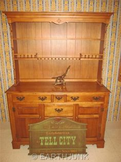 Vintage Hard Rock Maple Tell City China Hutch Buffet