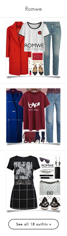 """""""Romwe"""" by itsybitsy62 ❤ liked on Polyvore featuring Acne Studios, Valentino, Jaeger, Estelle Dévé, Tai, Guerlain, romwe, whitetshirt, ROMWECONTEST and Vetements"""