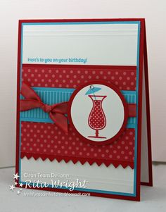 Rita combined real red and tempting turquoise in this fresh looking card.