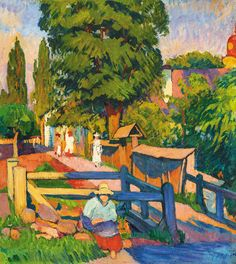 Ziffer Sándor Strollers by the Mill-course, c. Paul Gauguin, Vincent Van Gogh, Watercolor Bird, Watercolor Paintings, Garden Park, Fauvism, City Art, Old Things, Painters