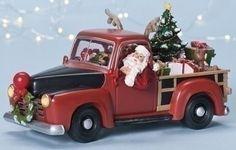 Santa Pickup Truck Music Box from The Holiday Barn