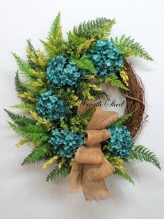 Blue Hydrangea Wreath, Spring / Summer Wreath, Everyday Wreath, Outdoor Wreath, Country Fern Wreath, Front Door Wreath, Blue Hydrangeas