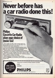 "Dec 1968 ad. ""The mass production of Compact Cassettes began in 1964... Prerecorded music cassettes were launched in Europe in late 1965 and... the U.S. in July 1966... However ... the audio quality of early players (was) not well suited for music (until) 1971 ... (Cassettes) also served as catalysts for social change. Their durability and ease of copying helped bring underground rock and punk music behind the Iron Curtain ... http://en.wikipedia.org/wiki/Compact_Cassette"