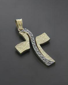 Σταυρός βαπτιστικός Χρυσός & Λευκόχρυσος K14 με ζιργκόν