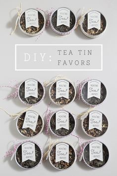 DIY: tea tin bridal shower or wedding favors