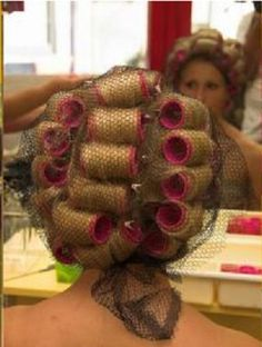 Curlers and hair net