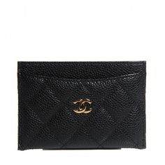 CHANEL Caviar Quilted Card Holder Black ❤ liked on Polyvore featuring bags, wallets, card holder wallet, chanel wallet, quilted leather wallet, card case wallet et genuine leather wallet
