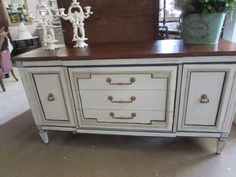 Deep Creek Vintage in Virginia painted this sideboard using Navajo White, Born on the 4th and Rushmore.