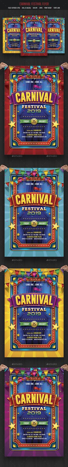 Carnival & Fun Fair Flyer Design Template - Events Flyers Template PSD. Download here: https://graphicriver.net/item/carnival-fun-fair-flyer/17011770?s_rank=89&ref=yinkira