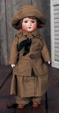 Armand Marseille German Bisque Child in Original Girl Scout Uniform c.1920 - Theriaults