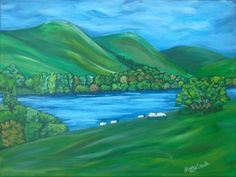 "Loweswater, Cumbria Acrylic on 12"" x 16"" canvas"