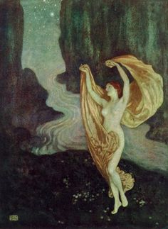 And all my days are trances,And all my nightly dreamsAre where thy grey eye glances,And where thy footstep gleams-In what ethereal dances,By what eternal streams ~ Edgar Allan Poe, Illustration by Edmund Dulac
