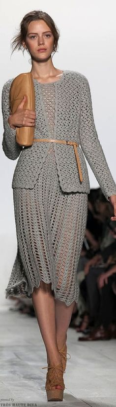 Items similar to MADE TO ORDER Crochet Dress custom made , exclusive gray crochet two-piece suit jacket and dress on Etsy Crochet Two Piece, Col Crochet, Crochet Woman, Knit Fashion, Fashion News, Runway Fashion, Fashion Trends, Couture Fashion, Crochet Skirts
