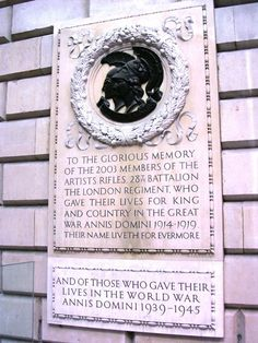 Artists Rifles war memorial. Burlington House (Royal Academy). The regimental cap badge of Mars and Minerva - http://pinterest.com/pin/158118636887313117/  To the Glorious Memory of the 2003 Members of The Artists Rifles who died in The Great War and to later casualties.