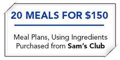 Meal Plan Using Sams Club