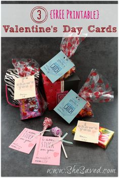 Free printable Valentine's Day Cards from She Saved.  Perfect for school parties!