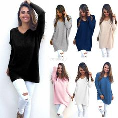 Womens Long Sleeve Casual Pullover Sweater Ladies Loose Blouse Jumper Tops Shirt