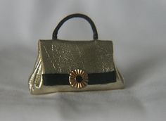Gold Leather dollhouse handbag 1/12 scale