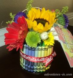 Sweet bud vase with crayons and alphabet ribbon