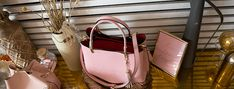 C'iel Eloi pink Pink Tote Bags, Shoulder Strap, Leather