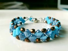 Check out this item in my Etsy shop https://www.etsy.com/listing/486865493/beaded-blue-bracelet-turquoise-bead