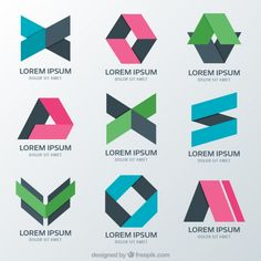 Psychology logos with different abstract figures Free Vector