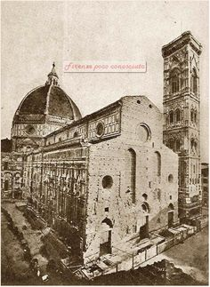 Duomo, Florence, before construction of modern façade Gothic Architecture, Historical Architecture, Italy History, Firenze Italy, Historical Art, Vintage Italian, Renaissance, Old Photos, Photo Art