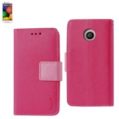 Reiko Wallet Case 3 In 1 For Motorola Moto E Hot Pink With Interior Leather-Like Material And Polymer Cover