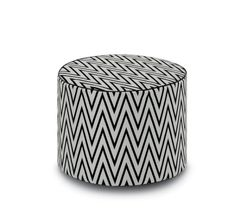 The Rivas zigzag pouf in black and white from the Poppies Outdoor collection by MissoniHome