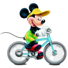 Disney_Mickey_Mouse_Wearing_Yellow_Hat_Riding_Bicycle