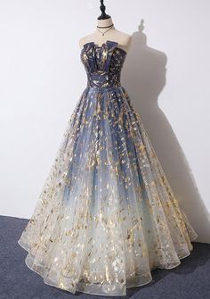Charming Blue Long Party Dress, Blue Prom Gown When you purchas. Pretty Prom Dresses, A Line Prom Dresses, Ball Gowns Prom, Tulle Prom Dress, Ball Dresses, Cute Dresses, Beautiful Dresses, Evening Dresses, Long Party Dresses