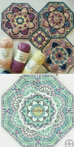 Transcendent Crochet a Solid Granny Square Ideas. Wonderful Crochet a Solid Granny Square Ideas That You Would Love. Crochet Mandala Pattern, Crochet Motifs, Granny Square Crochet Pattern, Crochet Squares, Crochet Blocks, Crochet Granny, Crochet Blanket Patterns, Crochet Diagram, Crochet Stitches
