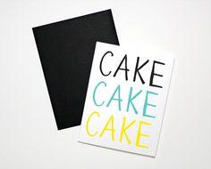 Screenprinted Cake Cake Cake Birthday Card by The Paper Cub Co.