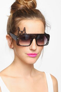 Meow Flat Top Sunglasses - Brown #1238-1