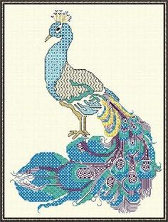 Beautiful Peacock designed in blackwork and stitched in DMC Etoile threads Blackwork Patterns, Blackwork Embroidery, Embroidery Kits, Cross Stitch Embroidery, Needlepoint Kits, Painted Boxes, Metallic Colors, Needle And Thread, Peacock