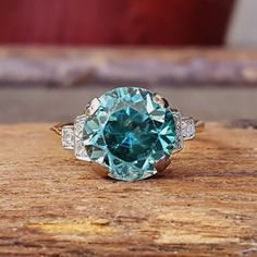 Antique Vintage Engagement Ring — Art Deco Blue Zircon and Diamond Gold Ring. Antique Vintage Engagement Ring — Art Deco Blue Zircon and Diamond Gold Ring. Bali Jewelry, Fine Jewelry, Jewelry Box, Jewlery, Vintage Engagement Rings, Vintage Rings, Vintage Art, Gold Diamond Rings, Gold Ring