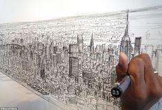 """Перед вами британский художник Стивен Уилтшир (Stephen Wiltshire). Человек, с детства больной аутизмом и обладающий феноменальной памятью. Стивен может по памяти в мельчайших деталях нарисовать панораму города после его небольшого облета. За гениальную способность художник получил прозвище """"Живая камера""""."""