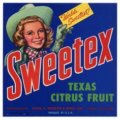 SWEETEX Vintage Texas Citrus Crate Label(s)