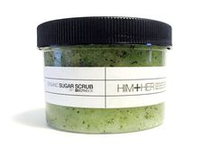His and her natural, organic sugar scrub. Cucumber, mint, rosemary and other simple ingredients whipped into an awesome paste.