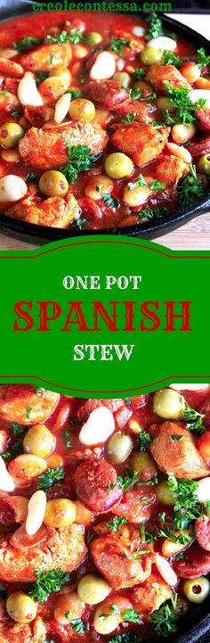 One Pot Spanish Chicken Stew-Creole Contessa Slow Cooker Recipes, Crockpot Recipes, Soup Recipes, Chicken Recipes, Dinner Recipes, Cooking Recipes, Cooking Ideas, Dessert Recipes, Healthy Recipes