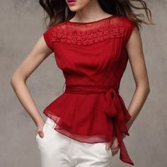 Red Chiffon, Chiffon Shirt, Blouse And Skirt, Blouse Patterns, Look Chic, Blouse Styles, Corsage, Casual Chic, Nice Dresses