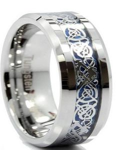 8mm Tungsten Wedding Band With Blue Celtic Inlay Design
