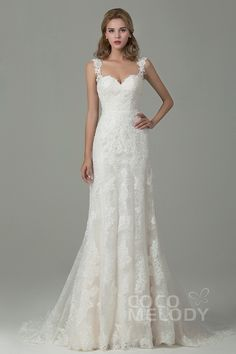 6f4f239e8c Sheath-Column Court Train Lace Wedding Dress with Appliques CWVT15002