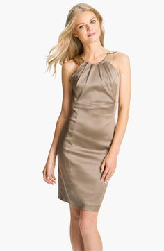 Calvin Klein Sequin Strap Satin Sheath Dress's delicate, metallic hue, paired with gold heels or sandals and wrap or even a blazer would be perfect for any work function or special occasion!