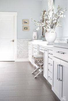 decorators white paint silver lake paint transitional white bathroom white  cabinets cararra marble