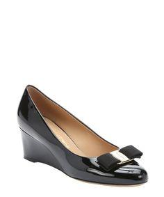 dd6cdc7656397 Salvatore Ferragamo black patent calfskin  Mirabel  bow wedge pumps Salvatore  Ferragamo, Zapatos De