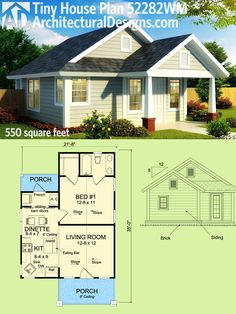 Architectural Designs Tiny House Plan 52282WM gives you 550 sq. ft. of living and a covered entry porch (and one in back). Ready when you are. Where do YOU want to build?